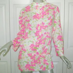 LILLY PULITZER Pink Flamingo/Floral Blouse Size 6